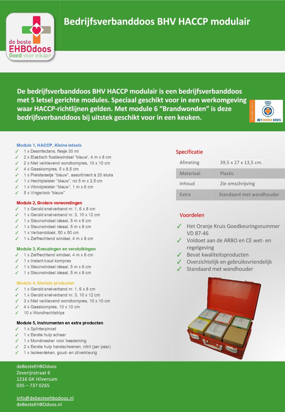 inhoud Verbanddoos BHV-HACCP