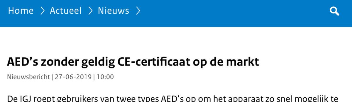 Belangrijk! Waarschuwing voor niet-gekeurde AED's op Nederlandse markt