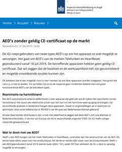 AED's zonder geldig CE-certificaat op de markt
